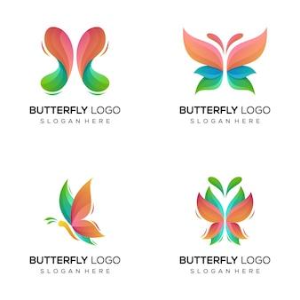 Lot de logo papillon abstrait coloré