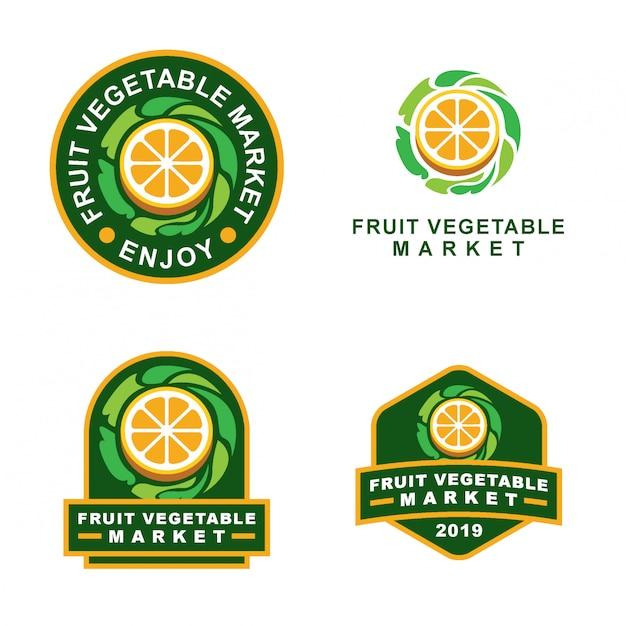 Lot de logos avec insignes de fruits et légumes