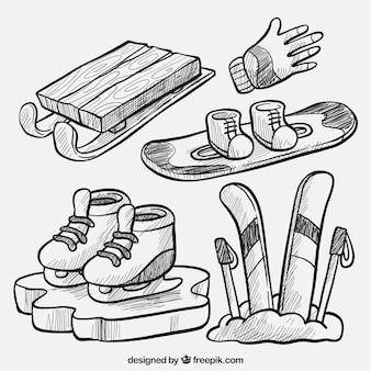 Lot de matériel de sport d'hiver dessiné à la main
