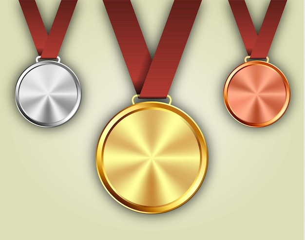 Lot de médailles d'or, d'argent et de bronze