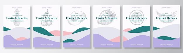 Lot de modèles d'étiquettes de bougies aromatiques. conception d'annonce de collection de parfums de fruits et de baies.
