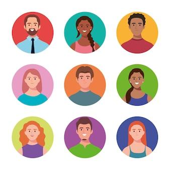 Lot de neuf avatars de personnages