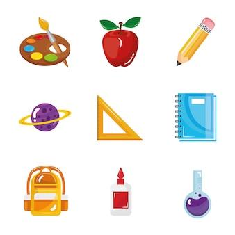 Lot de neuf icônes de collection de jeu de retour à l'école