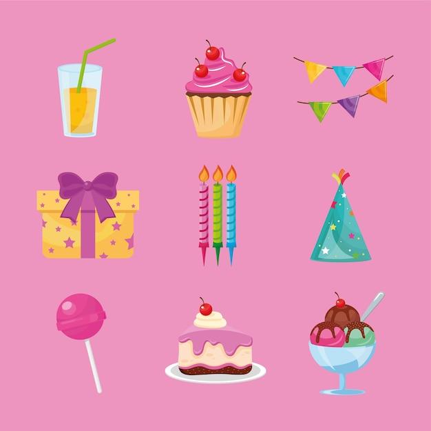 Lot de neuf icônes de jeu d'anniversaire de fête