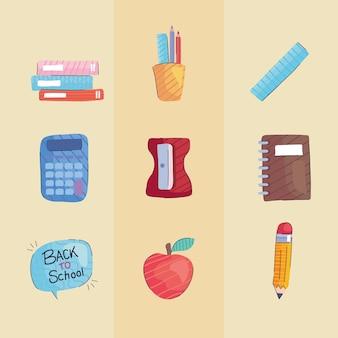 Lot De Neuf Retour à L'école Mis Illustration D'icônes Vecteur Premium