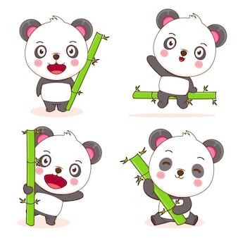 Lot de panda mignon avec dessin animé en bambou