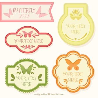 Lot de papillons étiquettes vintages