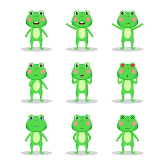 Lot de personnages animaux grenouilles mignons
