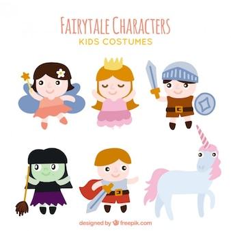Lot de personnages de contes de fées avec une licorne
