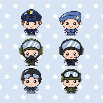 Lot de personnages policiers mignons
