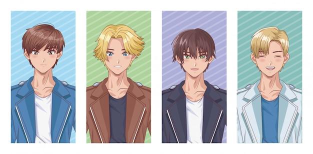 Lot de personnages de style hentai de jeunes garçons