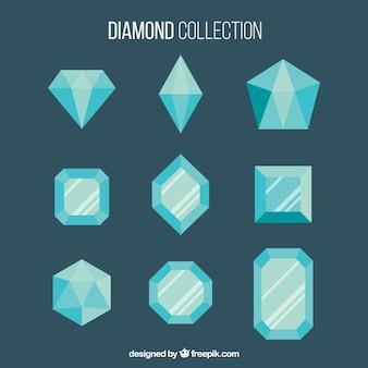 Lot de pierres précieuses bleues dans le design plat
