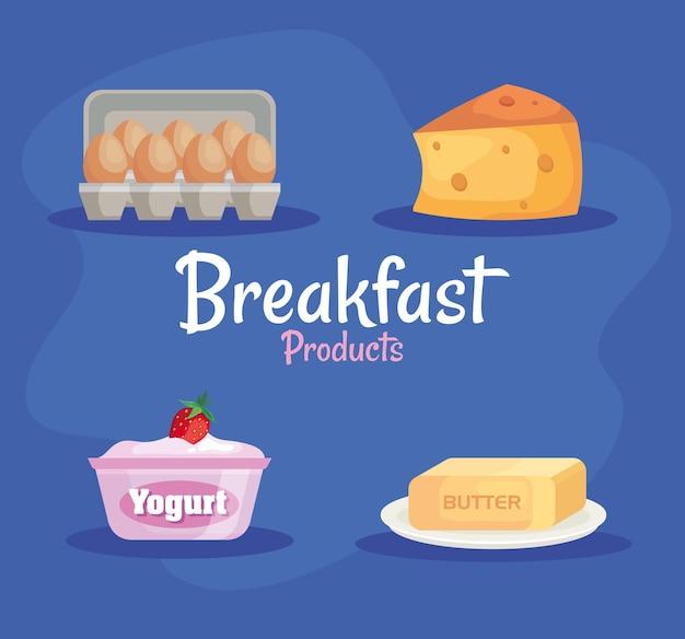 Lot de quatre délicieux produits de petit-déjeuner