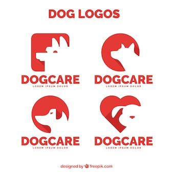 Lot de quatre logos de chien rouge
