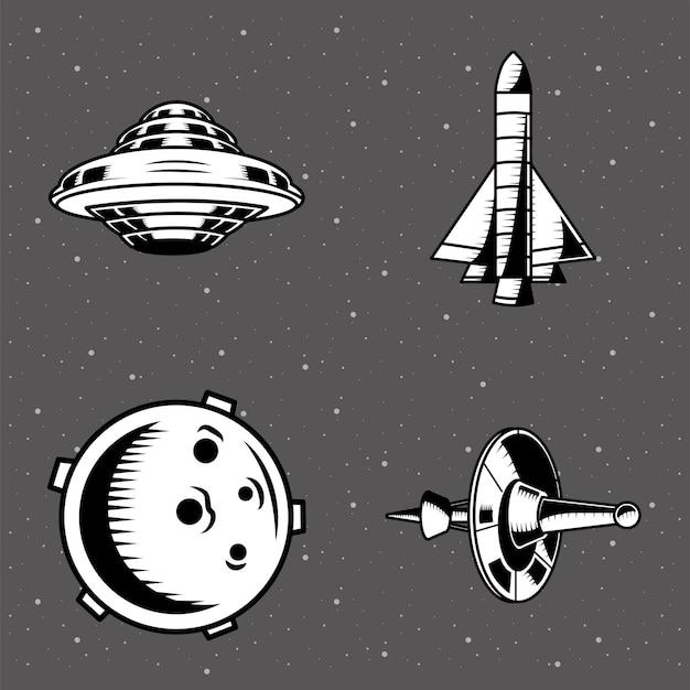 Lot de quatre patchs spatiaux