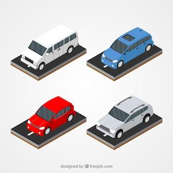 Lot de quatre véhicules de couleur dans la conception isométrique