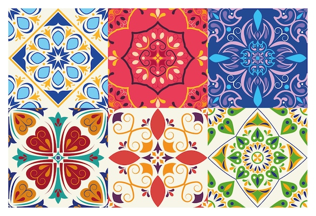 Lot de six arrière-plans en céramique de style italien d'art