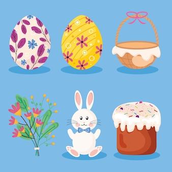 Lot de six joyeuses pâques ensemble icônes illustration