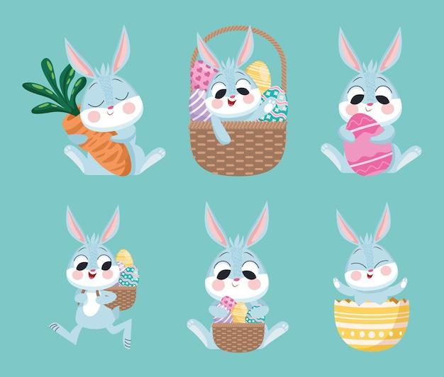 Lot de six lapins de pâques heureux