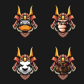 Lot de têtes de samouraï