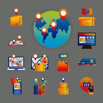Lot de treize services de livraison en ligne mis en icônes vector illustration design