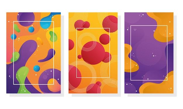 Lot de trois arrière-plans de flux de couleurs vives