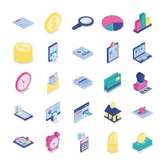 Lot de vingt-cinq icônes de collecte de jeu de taxes