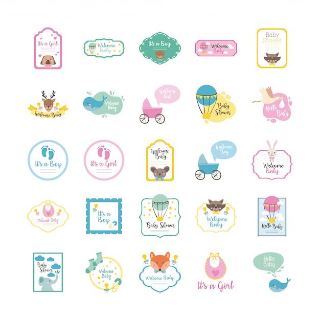 Lot de vingt-cinq icônes de jeu de douche de bébé