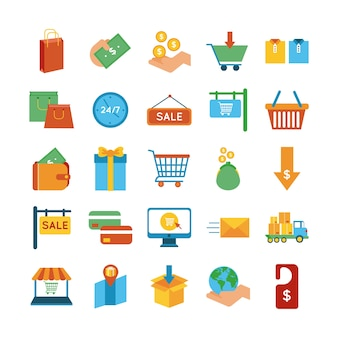 Lot de vingt-cinq icônes de shopping set vector illustration design