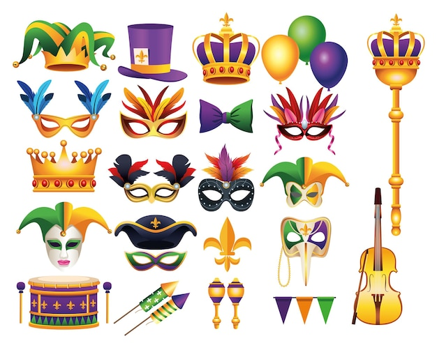 Lot de vingt-deux célébrations de carnaval mardi gras mis illustration d'icônes
