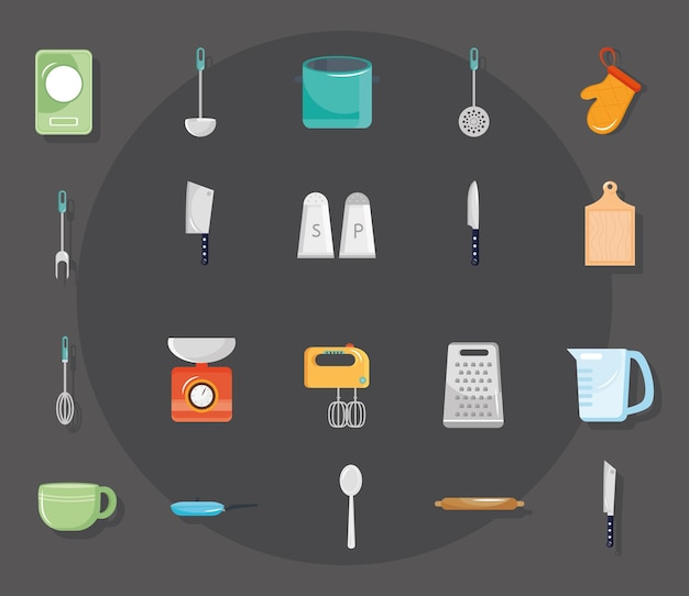 Lot de vingt ustensiles de cuisine mis en illustration design d'icônes