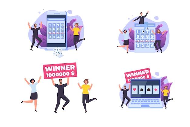 Loterie ou bingo. ensemble de minuscules personnes gagnantes.
