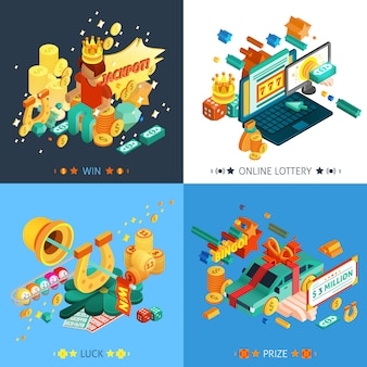 Loterie et jackpot concept icons set
