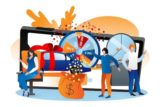 Loterie en ligne, illustration vectorielle. le personnage homme femme gagne un jackpot à la roue de la fortune internet, joue à un jeu chanceux sur un smartphone. le gagnant obtient une voiture, un prix en argent, un concept de divertissement pari.