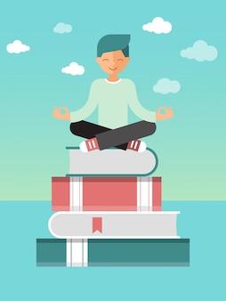 Lotus assis homme pose sur une pile de livres avec des signets. auto-éducation et illustration vectorielle de maîtrise de soi. processus éducatif.