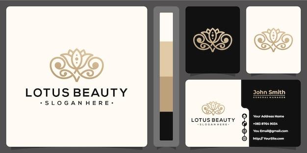 Lotus beauté logo monoline luxe avec modèle de carte de visite