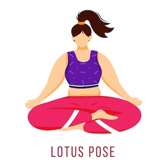 Lotus pose illustration vectorielle plane. padmasana. femme caucausienne en posture de yoga en sportswear rose et violet. faire des exercices. exercice physique. personnage de dessin animé isolé