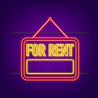 A louer enseigne au néon rouge sur fond bleu. maison, propriété, loyer. illustration vectorielle de stock.