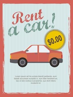Louer une voiture annonce style vintage illustration vectorielle