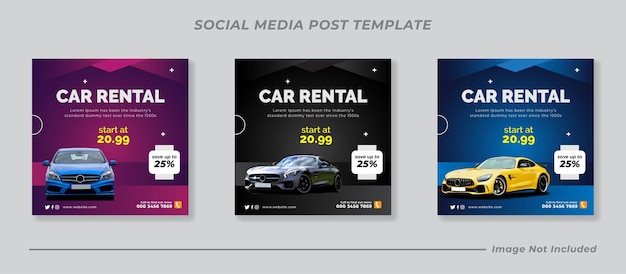 Louer une voiture pour l'ensemble de modèles de bannière post instagram de médias sociaux