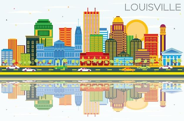 Louisville kentucky usa city skyline avec bâtiments de couleur bleu ciel et reflets vecteur