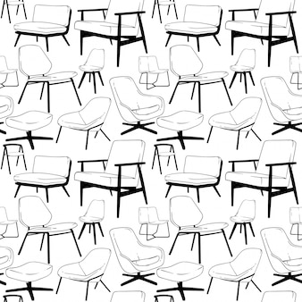 Lounge chair seamless pattern