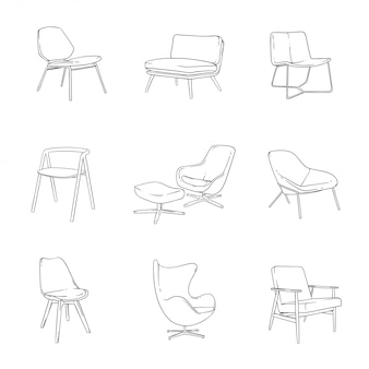 Lounge chairs illustration set