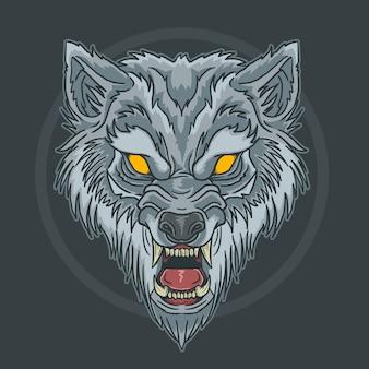 Loup bête visage en colère