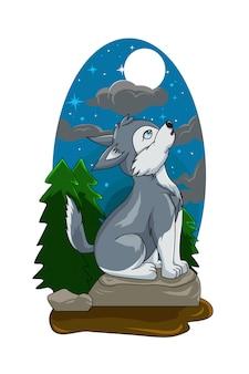 Loup blanc gris sur le rocher au milieu d'une forêt