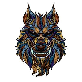 Loup en colère abstrait heaed