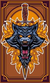 Loup en colère avec l'épée coincée