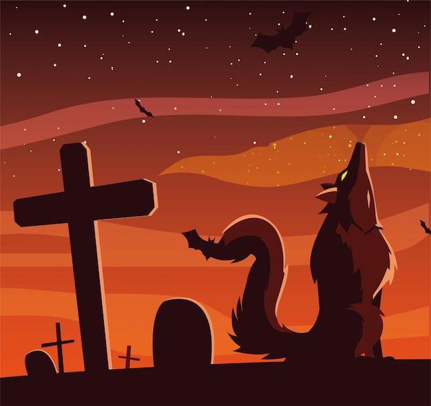 Loup en colère hurlant dans une scène de cimetière
