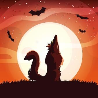 Loup en colère hurlant à la lune en scène d'halloween