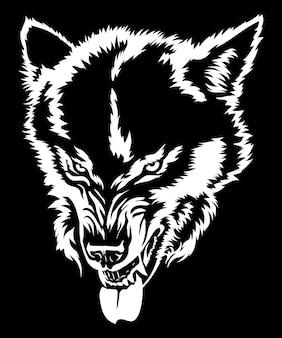 Le loup en colère montre les dents du loup sourire tête de loup dessin noir et blanc pour tshirt